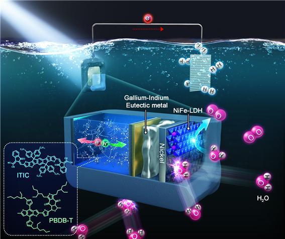 유기 반도체 기반 광전극(photoanode) 구조 및 이를 이용한 광 전기화학적 물 분해(수소생산) 시스템 모식도.[사진= UNIST]