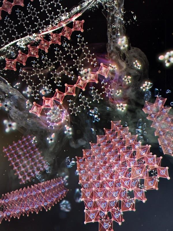 유기용매 안에서 유무기 할로겐 페로브스카이트가 화학적으로 박리되는 모습.[사진= 한국원자력연구원]